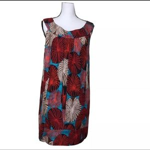 Diane Von Furstenberg Printed Pleated  Dress Sz 8
